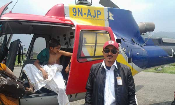 Helicopter at airport with captain