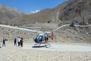 Helicopter landing near Muktinath Temple